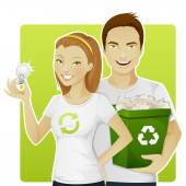Eco-friendly people — Stock Vector