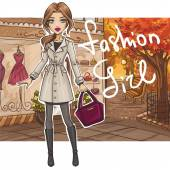 Fashion girl in stylish outfit — Vector de stock