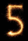"""""""5"""" number drawn with bengali sparkles — Stock Photo"""