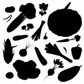 Silhouette vegetables set — Stock Vector