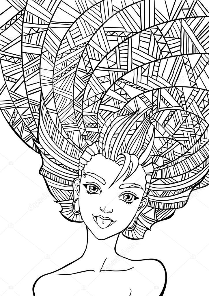 imprimer pour le livre de coloriage adulte portrait d 39 une. Black Bedroom Furniture Sets. Home Design Ideas