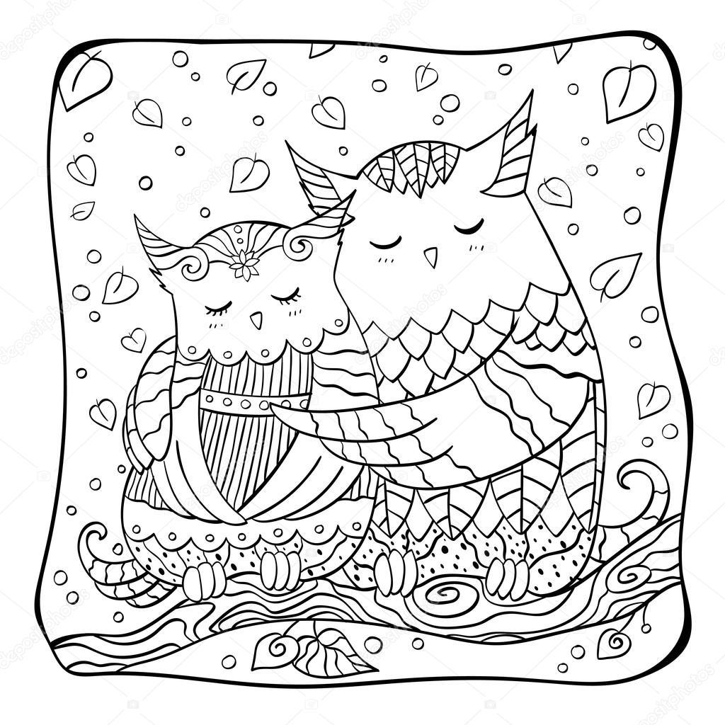 uilen in de liefde ontwerp voor valentijnsdag kleurplaat