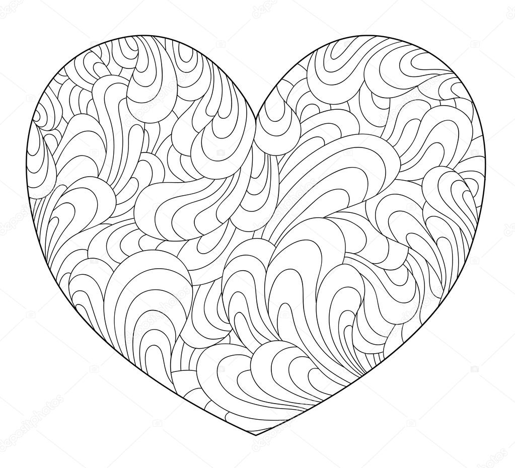 contour du cur en zentangle style imprimer des coloriages pour adultes illustration