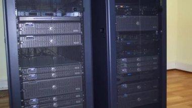 Server farm, rack. Computer servers. — Stockvideo
