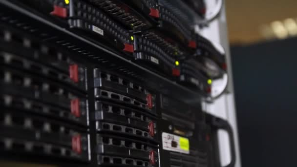 Server farm, rack. Computer servers. — Vidéo