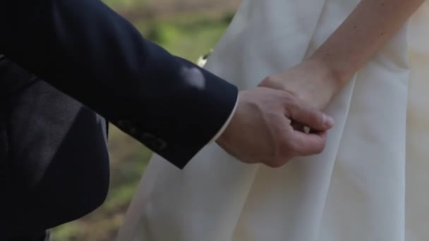 Gently connected hands of a newly-married couple with wedding rings on a finger on a background of a white wedding dress — Vidéo