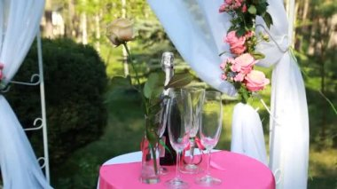 Elegant tall flute of chilled sparkling champagne standing alongside a full bottle on an elegant formal dining table at a catered event — Vídeo de Stock