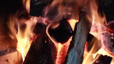 Burning fire wood in the brick furnace — Stock Video
