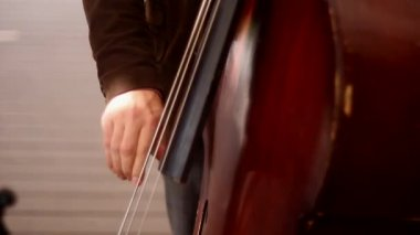 Contrabass player at theatre — Stock Video