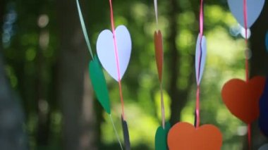 Hearts paper cut dry on rope — Stock Video