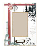 White aged photo frame with drawings of Eiffel Tower and black word Paris. Isolated place for your picture — Stock Photo