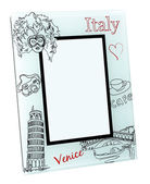 Beige photo frame with drawings and red words Italy, Venice. Isolated place for your picture — Stockfoto