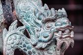 Bronze ancient dragon head in buddha temple — Stock Photo