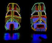 Glowing neon indian masks — Stock Photo