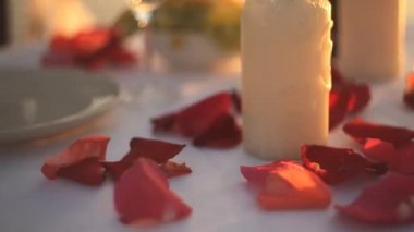 Rose petals on a romantic date with wine — Stock Video