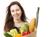 Young Woman Holding Large Bag of Healthly Groceries - Stock Imag — Stock Photo