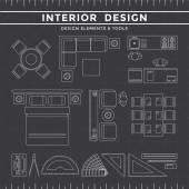 Interior Design Elements & Tools on Dark Background — Vettoriale Stock