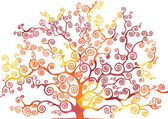 Tree with curved branches, warm colors — Stock Vector
