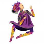 Dancing, theatrical actor. — Stock Vector