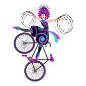 Trick with hula hoops by circus girl on an artistic bicycle. — Stock Vector