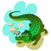 The Crocodile and the Little Bird — Stock Vector