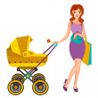 Young woman with a pram — Stock Vector #70111945