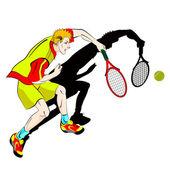 Drawing of tennis man player symbol — Stock Vector