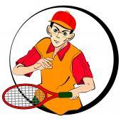 Tennis man player. vector symbol — Stock Vector