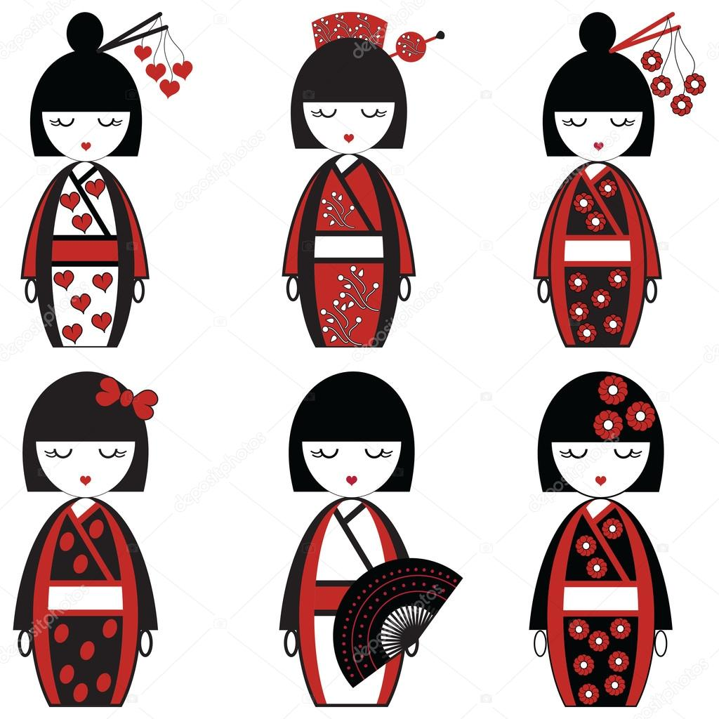 Japanese Female Dolls Inspired By Asian Culture Set Of 6
