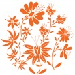 Floral folk pattern in circle containing set of orange- red color  flowers inspired by the Eastern European folk — Stock Vector #68367221