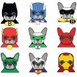 Постер, плакат: French Bulldog superheroes icons