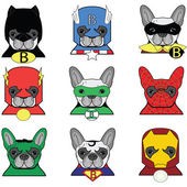 French Bulldog  superheroes icons — Stock Vector