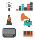 Music players and components vol 3 including  vintage microphone, sound and tune indicators, metronome, piano keys, gramophone, piano keys , retro radio — Stock Vector