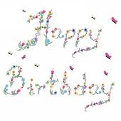 Spring Happy Birthday sign in color with floral elements — Stockvector