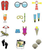 Summer and  holidays attributes — Stock Vector
