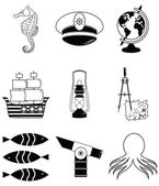 Nautical elements 3 including   seahorse, octopus, captains hat,  ship, drawing compass, tresure map, nautical style lamp, fish, globe, beach telescope — Stock Vector