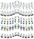 Nautical holiday bunting including  seahorse, captains hat with rudder, jellyfish, ship, nautical lamp — Stock Vector