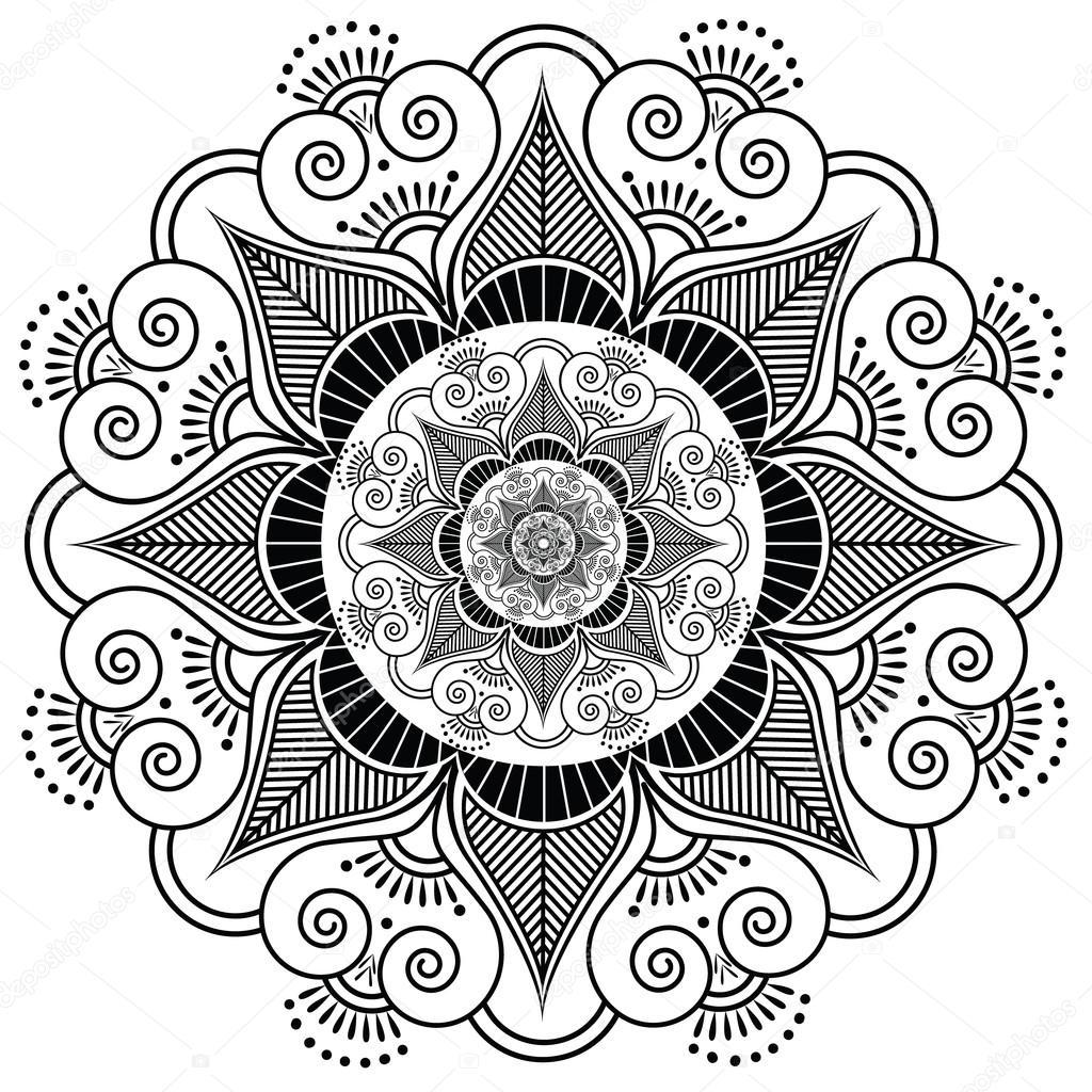 mod le de tatouage au henn indien fleur image vectorielle zozodesign 72827207. Black Bedroom Furniture Sets. Home Design Ideas