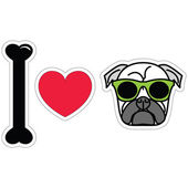I love pug  with green hipster glasses sticker style — Stock Vector