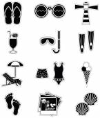 Summer and  holidays attributes with following elements sun bed, umbrella, ice cream, flip flips, binoculars, light house, photos  from holidays, shells , bare feet, snorkeling equipment, flippers, swimming suit, swimming trunks, — Stock Vector