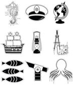 Nautical elements 3 sticker style — Stock Vector