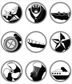 Nautical elements II icons in knotted circle in black and white — Stock Vector
