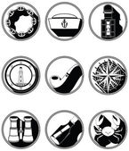 Nautical elements IV icons in knotted circle in black and white — Stock Vector
