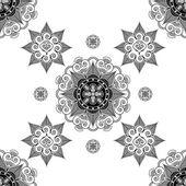 Folk inspired wallpaper in black and white — Stock Vector