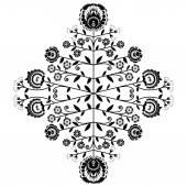 Polish folk inspired floral black pattern on white background — Stock Vector