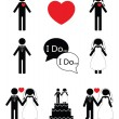 Wedding 1 icon set in black and white — Stock Vector #74405017
