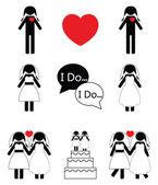 Gay woman wedding — Stock Vector