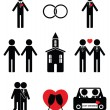 Gay man wedding 2 icons set — Stock Vector #74523737