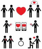 Gay man Falling in love and engagement icons — Stock Vector