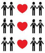 Gay man grooms icon set — Stock Vector